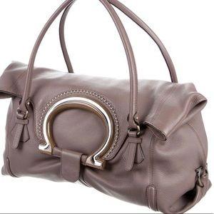 100 Authentic Ferragamo XL Mauve Leather Bag Purse